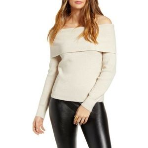 Leith Ribbed Off The Shoulder Knitted Sweater